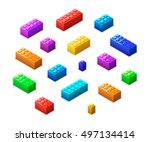 big set of different colorful... | Shutterstock .eps vector #497134414