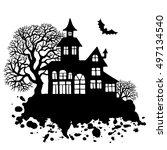 happy halloween greeting card...   Shutterstock .eps vector #497134540