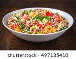 fresh healthy salad with quinoa ... | Shutterstock . vector #497135410