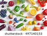 Rainbow colored fruits and...