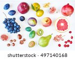 Rainbow Colored Fruits A White...