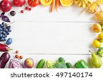 rainbow colored fruits and... | Shutterstock . vector #497140174