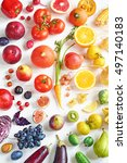 rainbow colored fruits and... | Shutterstock . vector #497140183