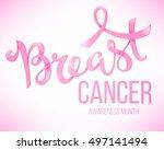 breast cancer awareness poster  ... | Shutterstock . vector #497141494