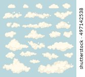 set of blue sky  clouds. icon... | Shutterstock . vector #497142538