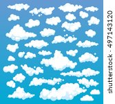 cartoon clouds set on blue sky... | Shutterstock . vector #497143120