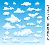 cartoon clouds set on blue sky... | Shutterstock . vector #497143126
