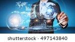 businessman moving digital... | Shutterstock . vector #497143840