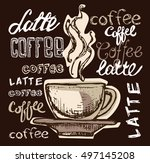 coffee collection   hand drawn... | Shutterstock .eps vector #497145208