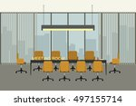 meeting room in flat style with ... | Shutterstock .eps vector #497155714