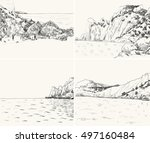 vector summer seascape sketch....   Shutterstock .eps vector #497160484
