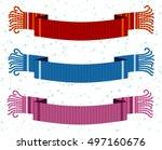 warm woolen scarf. vector flat... | Shutterstock .eps vector #497160676