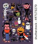 halloween character collection  ... | Shutterstock .eps vector #497173270