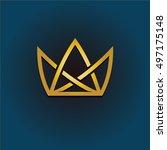 golden crown linear logo.... | Shutterstock . vector #497175148