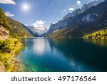 great azure alpine lake... | Shutterstock . vector #497176564