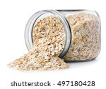 glass jar with rolled oats...   Shutterstock . vector #497180428