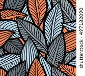 vector pattern with leaves.... | Shutterstock .eps vector #497182090