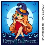 cute cartoon witch in anime ... | Shutterstock .eps vector #497182420