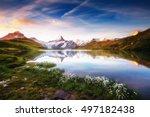 great view of mt. schreckhorn... | Shutterstock . vector #497182438