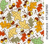 Autumn Seamless Pattern Of Oak...