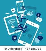 mobile communication concept.... | Shutterstock .eps vector #497186713