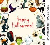 happy halloween greeting card... | Shutterstock .eps vector #497187388