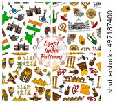 egypt and india seamless vector ... | Shutterstock .eps vector #497187400