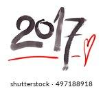 simple hand written date 2017... | Shutterstock . vector #497188918