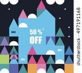 the magic winter city a banner... | Shutterstock .eps vector #497191168