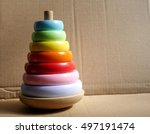photo of a wooden toy pyramid... | Shutterstock . vector #497191474