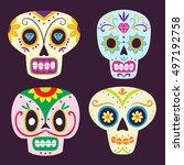 colorful cartoony mexican sugar ... | Shutterstock .eps vector #497192758