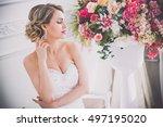 beautiful bride portrait...   Shutterstock . vector #497195020