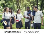 student study uniform book... | Shutterstock . vector #497203144