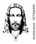 Graphic Drawing Of Jesus  With...