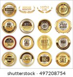 golden badges retro vintage... | Shutterstock .eps vector #497208754