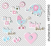 baby shower design elements.... | Shutterstock .eps vector #497209540