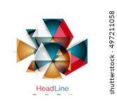 glossy glass modern triangle... | Shutterstock .eps vector #497211058
