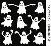 set of halloween funny ghosts.... | Shutterstock . vector #497211460