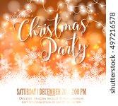 merry christmas invitation... | Shutterstock .eps vector #497216578