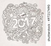 cartoon vector cute doodles... | Shutterstock .eps vector #497217490
