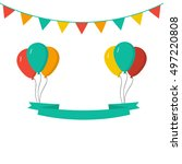 ribbon with ballons. celebrate... | Shutterstock .eps vector #497220808
