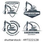 set of excavator logos  emblems ... | Shutterstock .eps vector #497222128