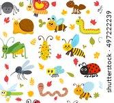 cute cartoon seamless pattern... | Shutterstock .eps vector #497222239