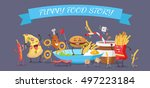 funny food story banner. happy... | Shutterstock .eps vector #497223184