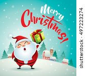 merry christmas  santa claus in ... | Shutterstock .eps vector #497223274