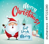 merry christmas  santa claus in ... | Shutterstock .eps vector #497223280