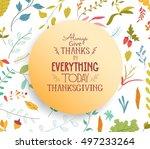 thanksgiving card floral... | Shutterstock . vector #497233264