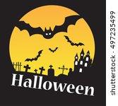 cartoon halloween sign vector... | Shutterstock .eps vector #497235499
