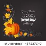hand drawn thanksgiving... | Shutterstock . vector #497237140
