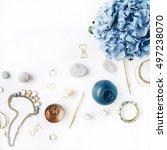 hydrangea  feminine accessories ... | Shutterstock . vector #497238070